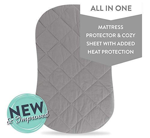 - Jersey Cotton Quilted Waterproof Hourglass/Oval Bassinet Sheet All in one Bassinet Sheet and Bassinet Mattress Pad Cover with Heat Protection by Ely's & Co. (Grey)