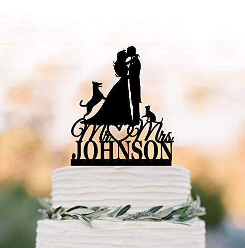 Customized Wedding Cake Topper With Cat And German Shepherd Dog, Bride And Groom Silhouette Unique Funny Wedding Cake Topper Figurine