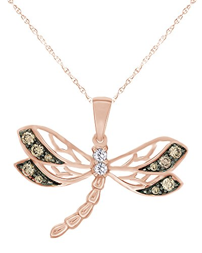 1/4 CT Round Cut Natural Champagne and White Diamond Dragonfly Pendant Necklace in 10K Solid Rose Gold