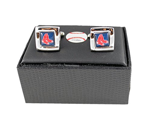 (Aminco International MLB Boston Red Sox Team Logo Square Cufflinks Gift Box Set)