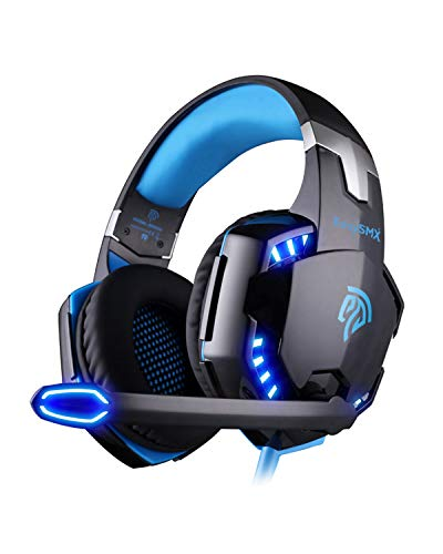 EasySMX G2000 Wired Over-Ear Stereo Gaming Headset Noise Cancellation Foldable Mic On-Line Control for PC Gamers (Black-Blue)