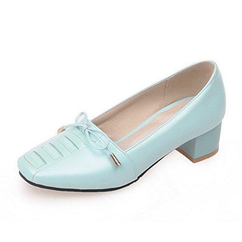 AllhqFashion Damen Weiches Material Quadratisch Zehe Niedriger Absatz Rein Pumps Schuhe Blau