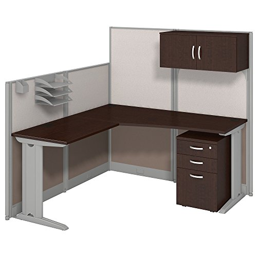 Office in an Hour 65W x 65D LWorkstation with Storage and Accessory Kit in Mocha Cherry by Bush Business Furniture