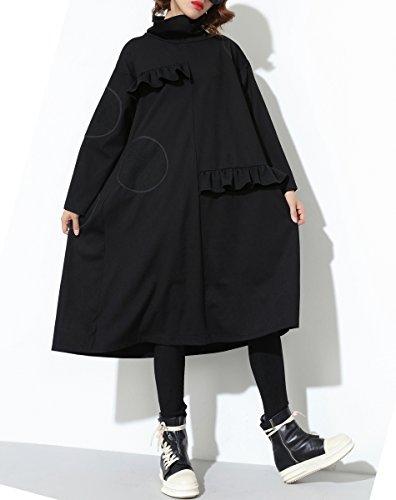 Damen Hoher Herbst Kleid Sweatshirt ELLAZHU Patchwork GY1443 Black Kragen amp;Winter qdtw5x04
