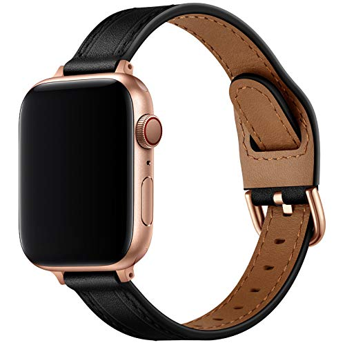 OUHENG Slim Band Compatible with Apple Watch Bands 40mm 38mm 44mm 42mm, Women Thin Genuine Leather Replacement Strap Compatible with iWatch SE Series 6/5/4/3/2/1