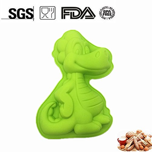 Dinosaur Shaped Cake Pan | Animal Baking Mold for Kids | Emboss Cutters Sugar Craft | Nonstick Bakeware, BPA Free, FDA-Approved, 9.45 x 1.57 x 6.69 Inches (Cute And Easy Halloween Cakes)