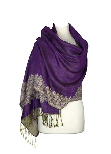Scarf Label Silk Purple - Paskmlna Border Pattern Double Layered Reversible Woven Pashmina Shawl Scarf Wrap Stole (003#17purple),Large