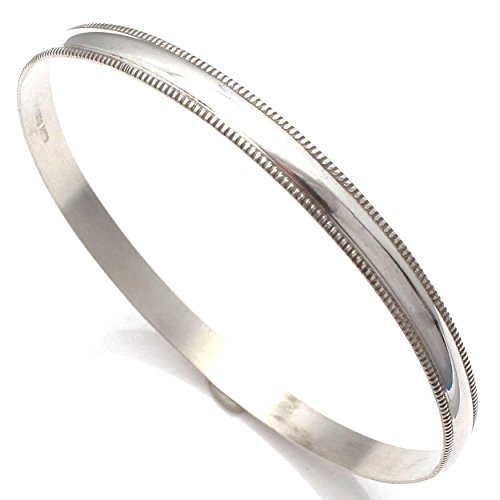 L7 Enterprises Sterling Silver Domed Wire Bangle Handcrafted by Navajo Artist Elaine Tahe (2.5