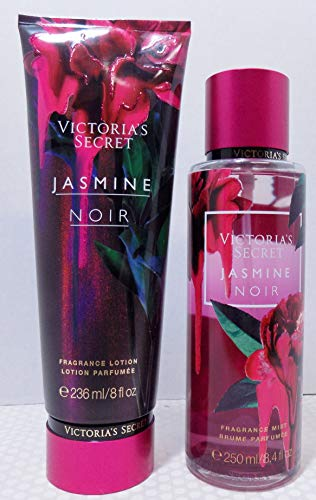 Victoria Secret Jasmine Noir Set 8 Oz Scented Lotion and 8.4 Oz Body Mist, Jasmine and Red Apple ()