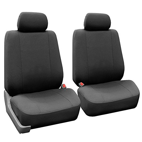 FH Group FB052CHARCOAL102 Charcoal Front Flat Cloth Bucket Seat Cover, Set of 2 (Multifunctional Airbag ()