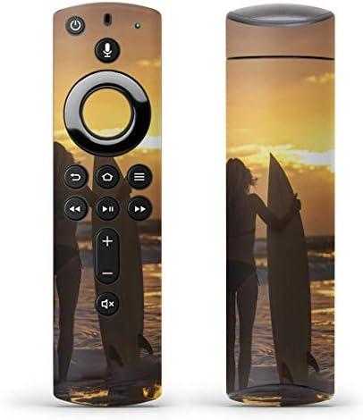 igsticker Fire TV Stick 第2世代 専用 リモコン用 全面 スキンシール フル 背面 側面 正面 ステッカー ケース 保護シール 006520 写真・風景 写真 海 夕日 人物