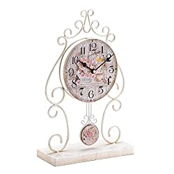 Shabby Chic Iron Country Rose Tabletop Clock