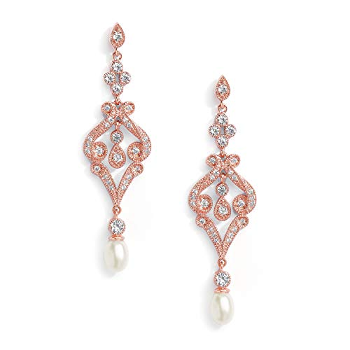 Mariell Vintage Cubic Zirconia and Rose Gold Bridal Earrings with Genuine Freshwater Pearl Drops ()