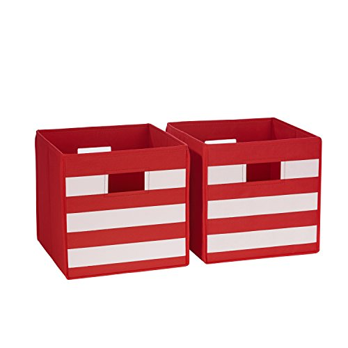 RiverRidge Kids 02-149 2 Piece Folding Storage Bins, Red/White