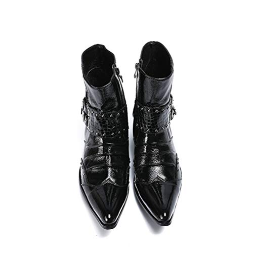 hiver Hommes fête Noir bottines Pointues Jiahe bottes Cuir En Pour Mode Verni À Et Ceinture 45 Bottines Boucle Bottes Soirée De Automne qxftYUx