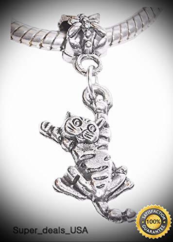 3d Halloween Rainbow Loom (Tiger Cat Animal Kitty Kitten Pet Dangle Charm for Silver European Bead Bracelet DIY Handmade Ornament)