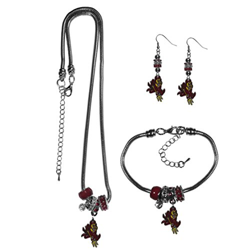 Devils Jewelry - Siskiyou NCAA Arizona State Sun Devils Euro Bead Jewelry Set of 3