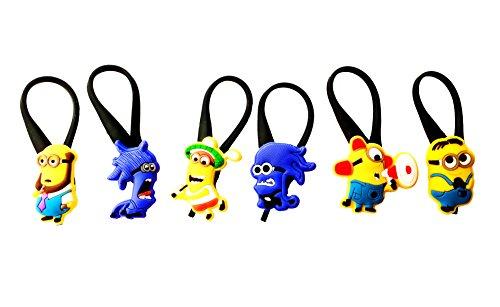 AVIRGO 6 pcs Soft Zipper Pull Charms for Backpack Bag Pendant Jacket Set # (Despicable Me Edith Costume)