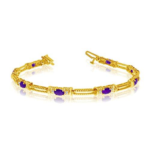 10k Amethyst Bracelet (10k Yellow Gold Natural Amethyst And Diamond Tennis Bracelet (9 Inch Length))