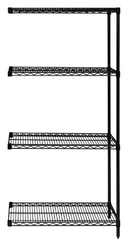Quantum Storage Systems AD86-1236BK Add-On Kit for 86' High 4-Tier Wire Shelving Unit, Black Finish, 12' Width x 36' Length x 86' Height