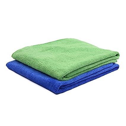 eDealMax 2pcs 65 x 33cm 400gsm coches absorbente de microfibra toalla limpia púrpura Verde