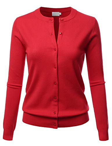 LALABEE Women's Crew Neck Gem Button Long Sleeve Soft Knit Cardigan Sweater RED ()