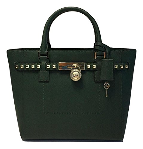 MICHAEL Michael Kors Women's Hamilton Traveler STUDDED Large TOTE Leather Handbag (Moss) by MICHAEL Michael Kors