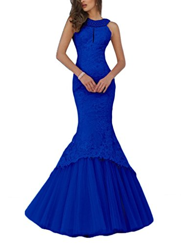 (Promworld Women's Mermaid Lace Evening Gowns Halter Key Hole Beaded Long Prom Dress Royal Blue US4)