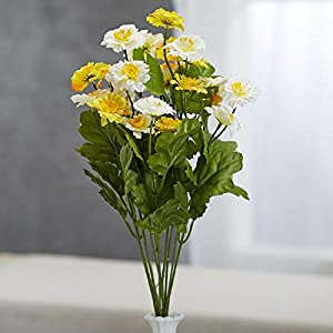 Factory Direct Craft Yellow and Cream Artificial Zinnia Bush 38