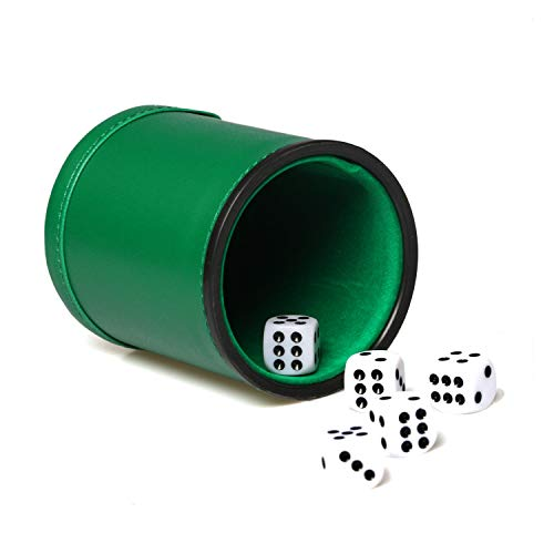 (Green Felt Lined Leatherette Dice Cup Set with 5 Dot Dices Shaker for Yahtzee Bar Party Dice Games)