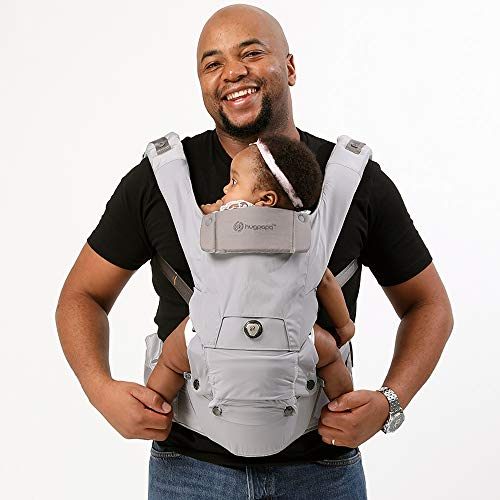 HUGPAPA Dial-Fit 3-in-1 Hip Seat Baby Carrier with Teething Pads Light Gray