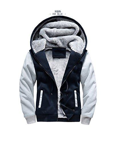EDC-OnSale Jacket Men New Winter Thick Warm Fleece Zipper Coat For Mens Sportwear Tracksuit Male European Hoodies Dark Blue W02 XL (Cashmere Jacket Track)