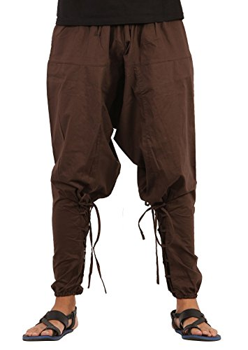 Mens Yoga Lightweight Cotton Handmade Harem Pants - Samurai Style (One Size, Brown) -