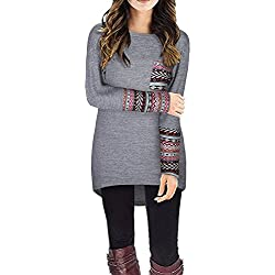 STYLEWORD Women's Long Sleeve Round Neck Patchwork Casual Loose T-Shirts Blouse Tops