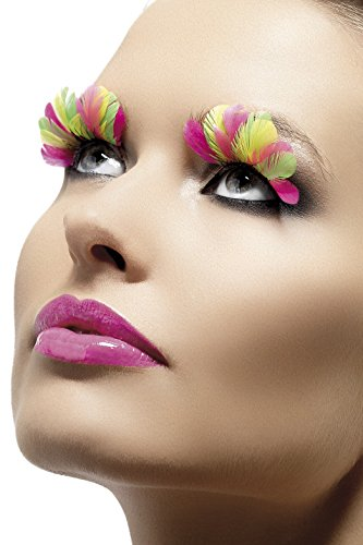 Fever Women's  Eyelashes, Multi-Coloured Neon Feathers, Contains Glue, One Size, 34999