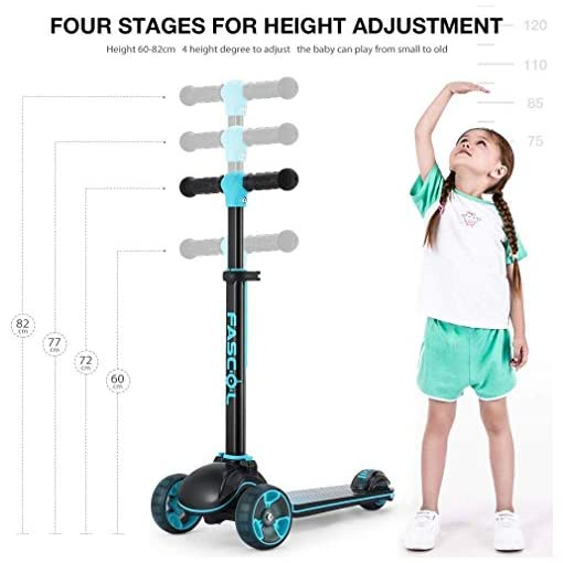 Fascol Trottinette Enfant 3 Roues,T-Bar Ajustable,Patinette Pliable pour Enfant 3 à 12 Ans avec Roue Lumineuse,Charge Maximale 60KG,Bleu