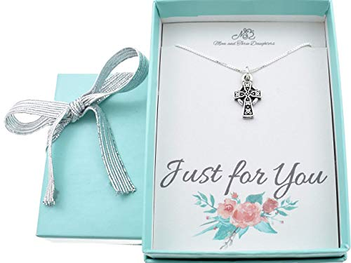 """Girls Celtic Cross necklace in silver plated pewter on a 14""""sterling silver box chain + 2"""" extender. Christian jewelry. Christian Necklace."""
