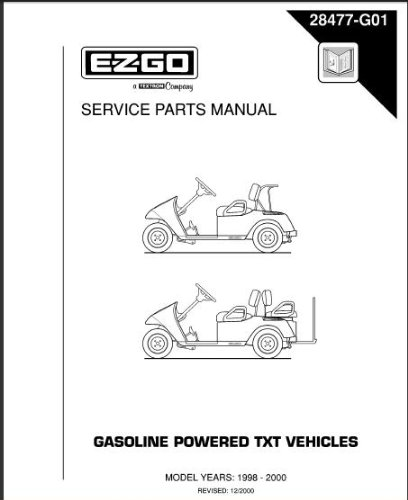 EZGO 28477G01 1998-2000 Service Parts Manual for Gas TXT Golf Car