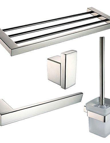 Accesorios de baño QMM, Juego de Accesorios de Baño/Anillos Para Toallas/Ganchos de Colgar la Bata/Sujetador del Cepillo del Inodoro/Calefactor de Toallas: ...