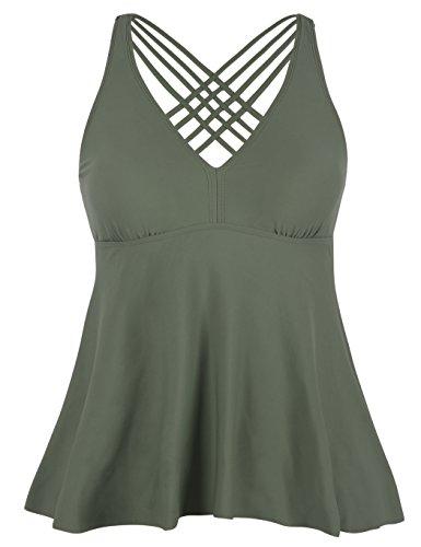 Swimwear Flattering (Firpearl Women's Tankini Swimsuits Cross Back Flowy Swim Tops Modest Swimwear US12 Army Green)