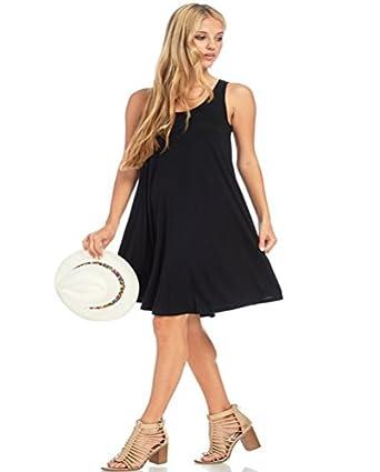 Womens Plus Size Sleeveless Flared Flattering Mini Dress By Wear