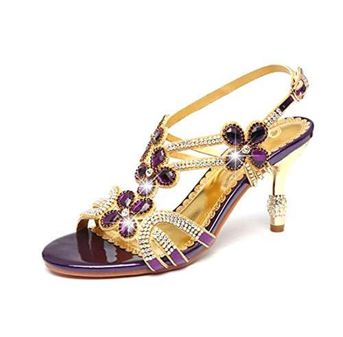 Sandalias De Diamante De Las Mujeres/Flash Club De Verano Zapatos Sandalias De Tacón Grueso Diamante Oro/Púrpura/Fiesta Y Partido,Purple,34