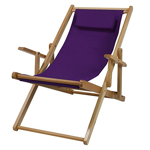 Price comparison product image Casual Home Adjustable Sling Chair Natural Frame,  Purple Canvas