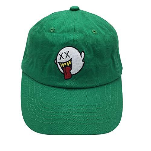 zhidan wei Distressed Boo Mario Ghost Baseball Cap 3D Embroidery Dad Hats Adjustable Snapback (Green)