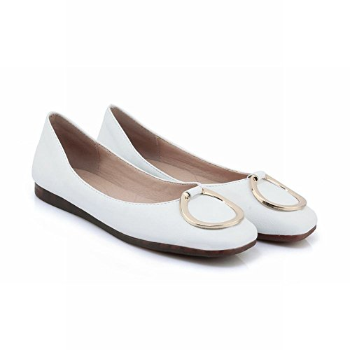 Carolbar Women's Western Concise Decorations Flat Square Toe Loafer Shoes White UqJmrIYRL