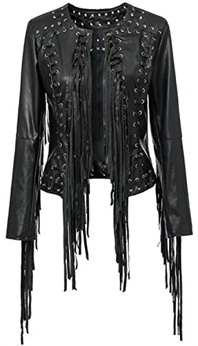 Leather Fringed Motorcycle Jacket - 8