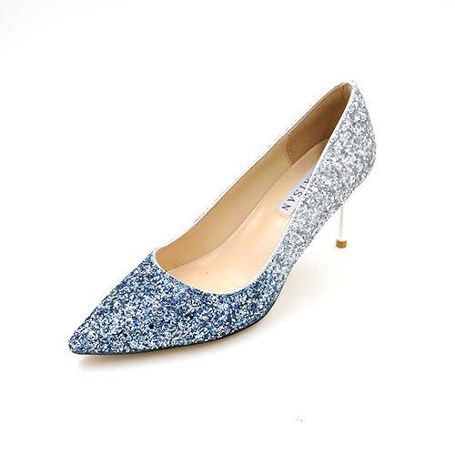 con tacones 37 azul la chica 7cm Oro con Luz shoes degradado degradado de madre la plata tacones de Bien cm punta altos plata Fino con boquilla de 5 wedding de 5wFpqnqH
