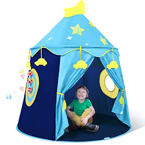 Peradix Play Tent for Boys, Kids Castle Playhouse for Children Kids Pop Up Foldable Play House Ball Pit with Sticky Balls Indoor & Outdoor Pitching Activity Games(Storage Carrying Bag Included, Blue)