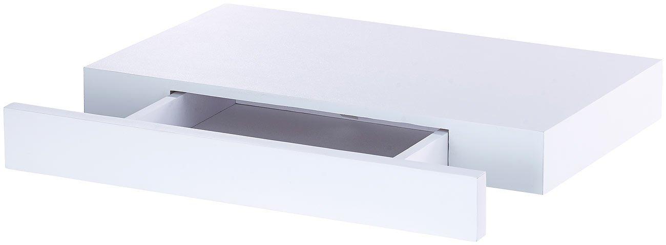 Wandschublade 40 x 5 x 25 cm Carlo Milano Regal: Wandregal mit versteckter Schublade wei/ß