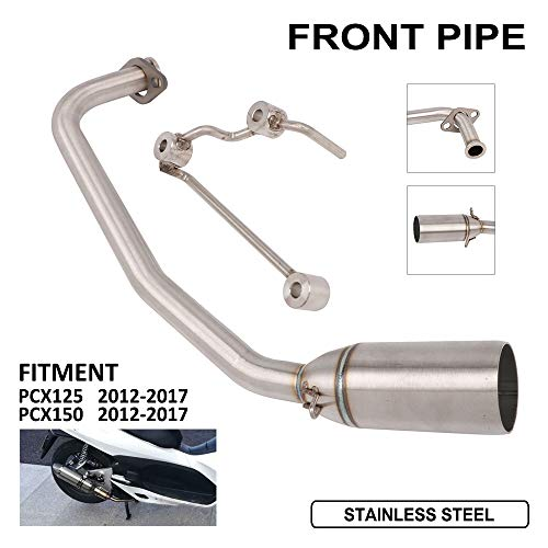 Motorcycle Full Exhaust System Front Pipe Modified Connect Stainless Steel Header Tube Link Pipe Manifold For Honda PCX 125 PCX 150 2012-2017 Dirt Street Bike Motorbike (Dirt Modified Headers)